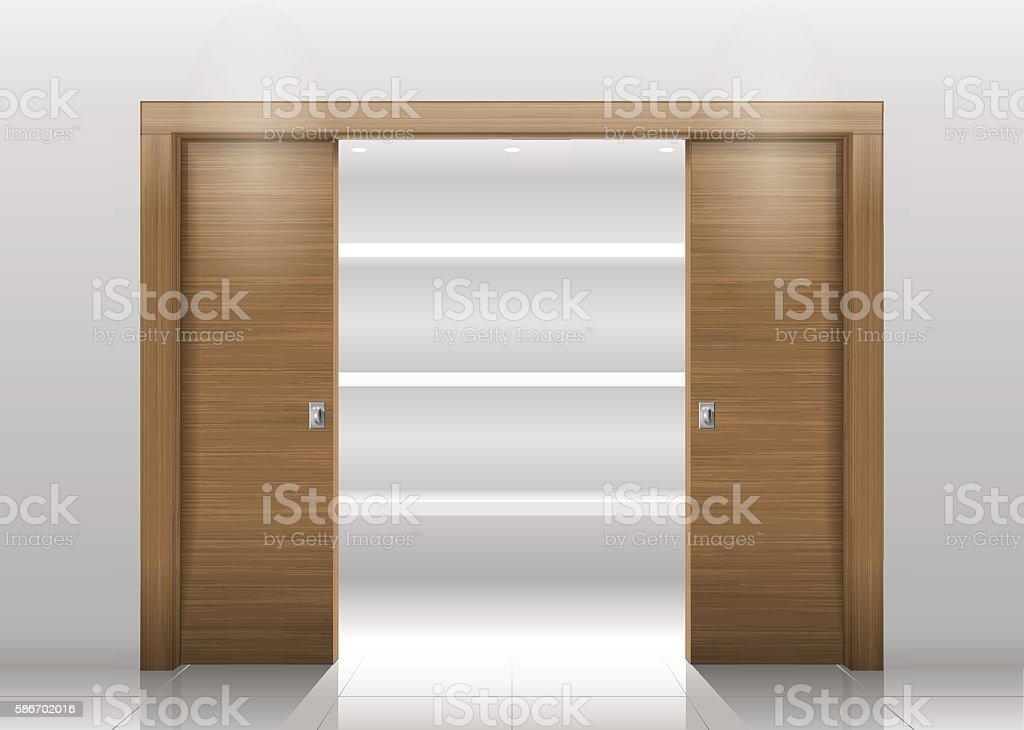 Sliding door wardrobe vector art illustration