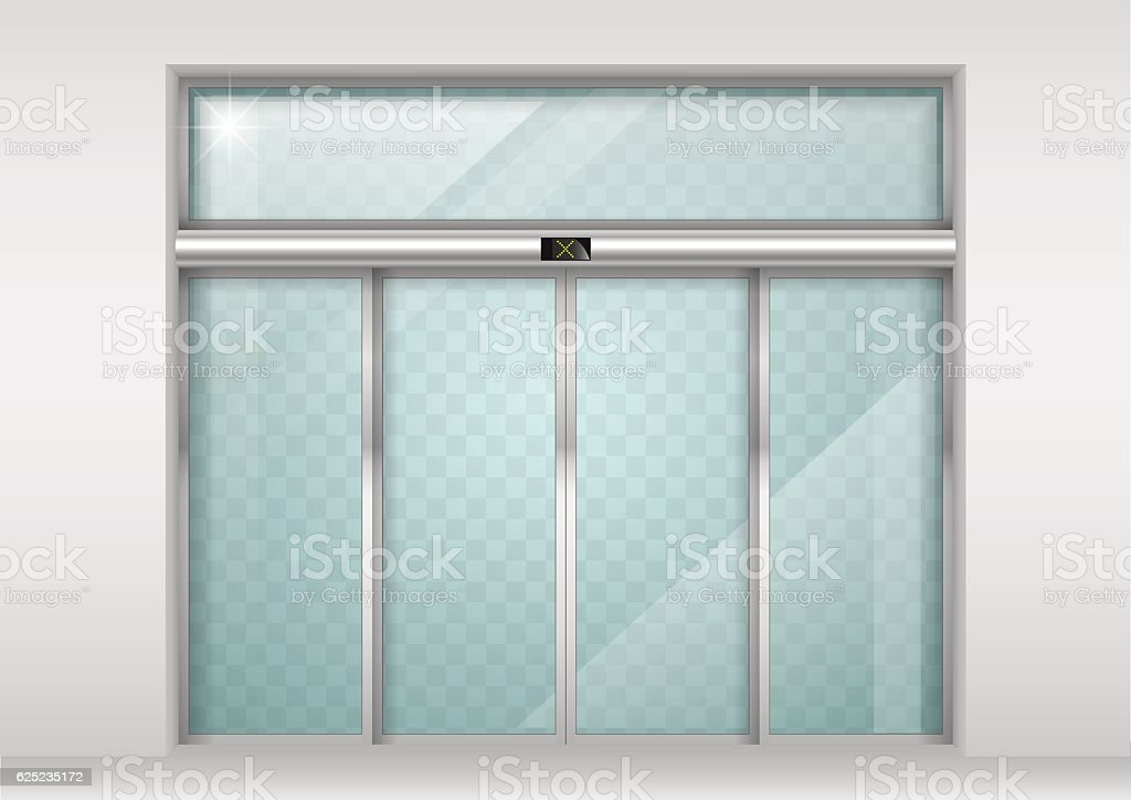Sliding glass automatic doors vector art illustration