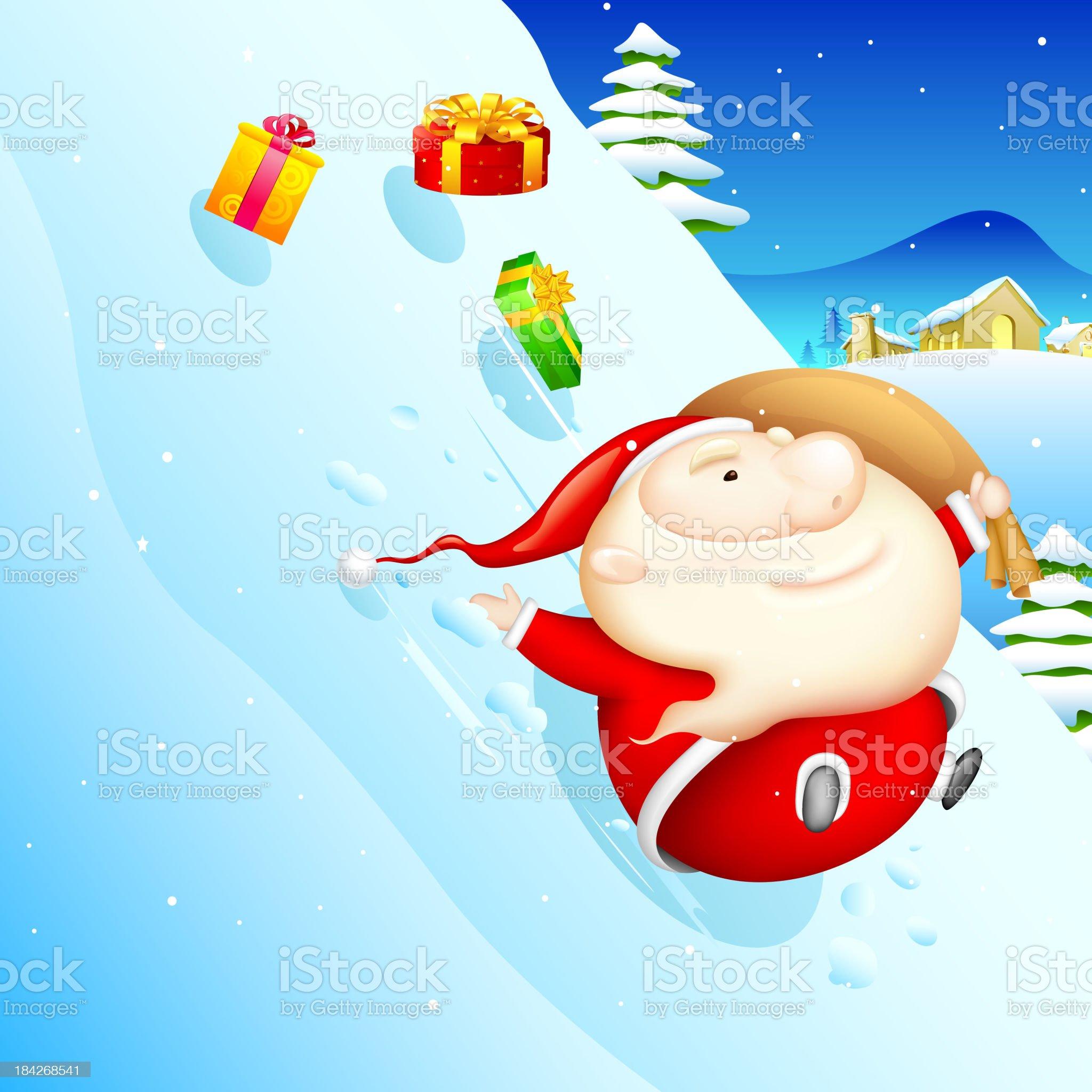 Sliding Santa royalty-free stock vector art