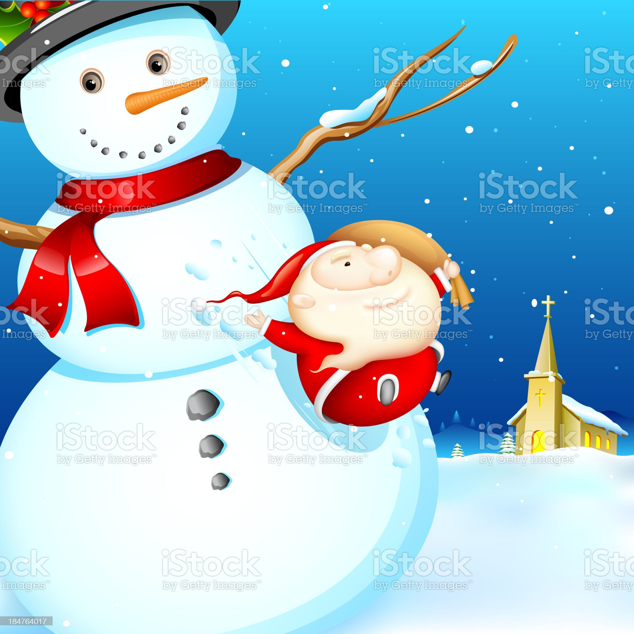 Sliding Santa royalty-free stock vector art