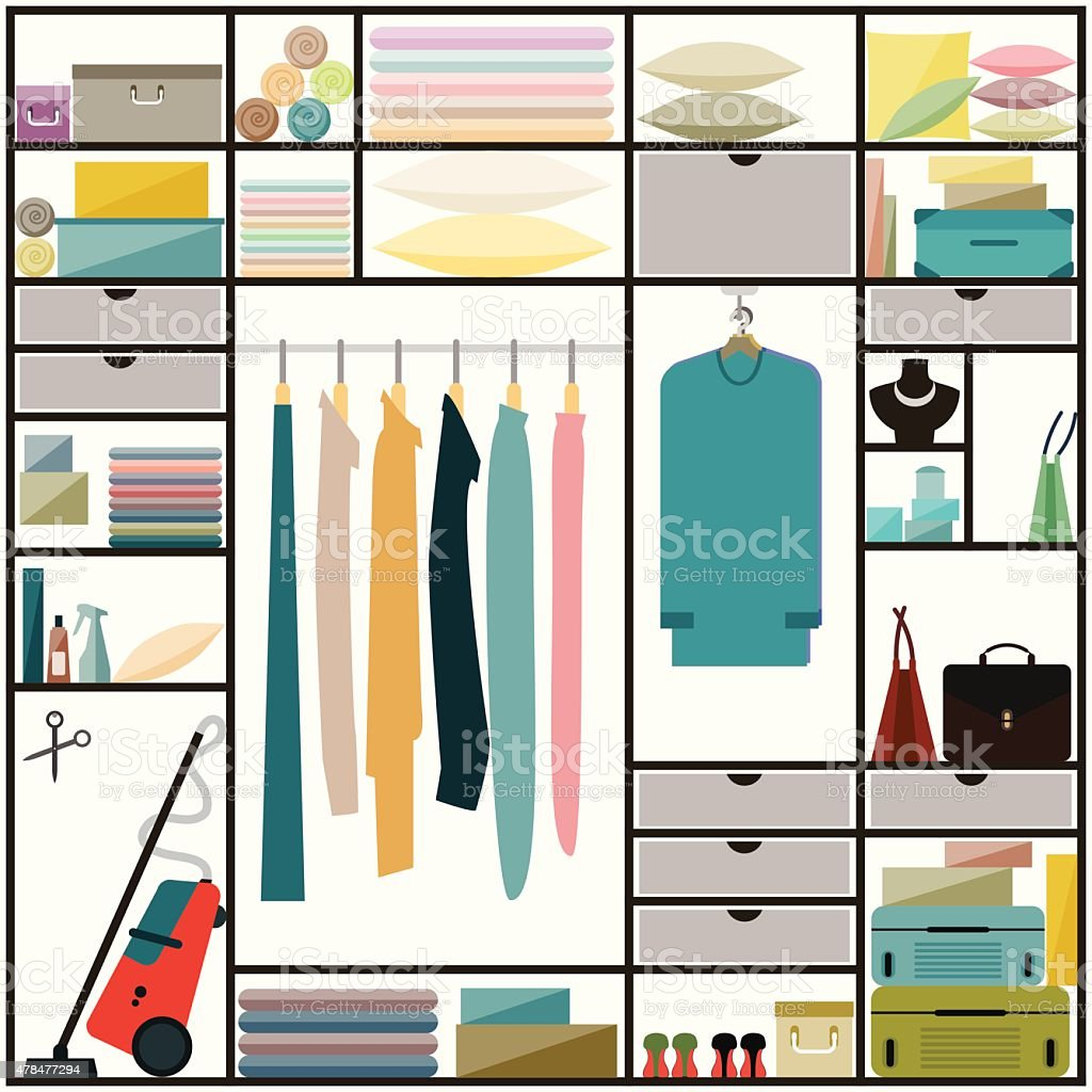 sliding-door wardrobe with clothes and some household items vector art illustration