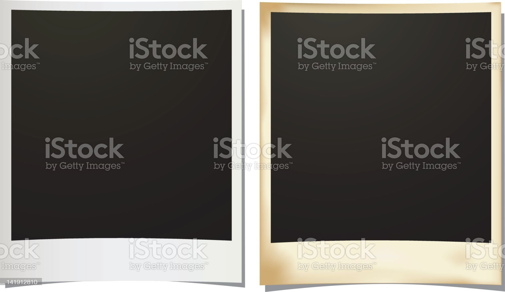 Slightly curved silver and gold photo borders royalty-free stock vector art