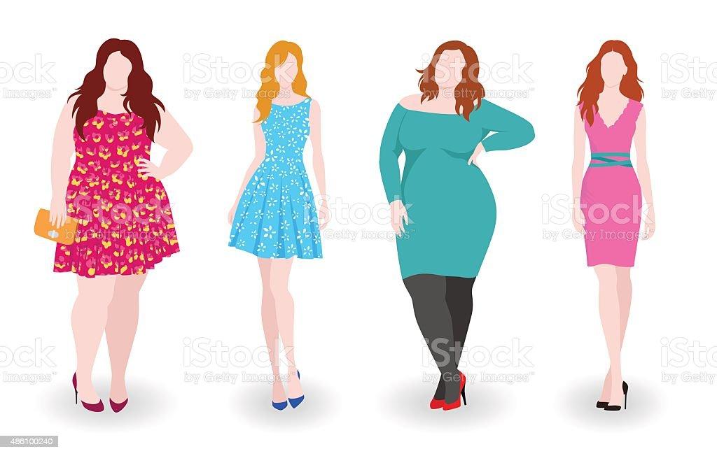 Slim and fat fashion women vector art illustration