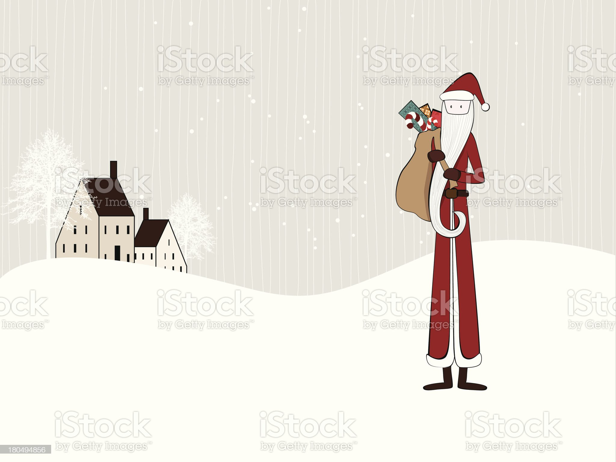 Slim Santa Claus with gifts royalty-free stock vector art