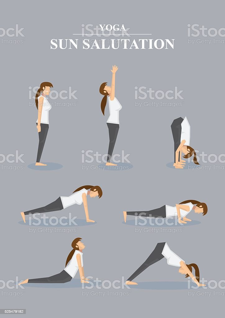 Slim Sporty Woman in Yoga Poses Sun Salutation Series vector art illustration