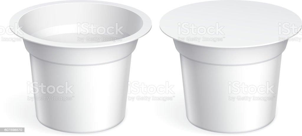 Slim White blank plastic container vector art illustration
