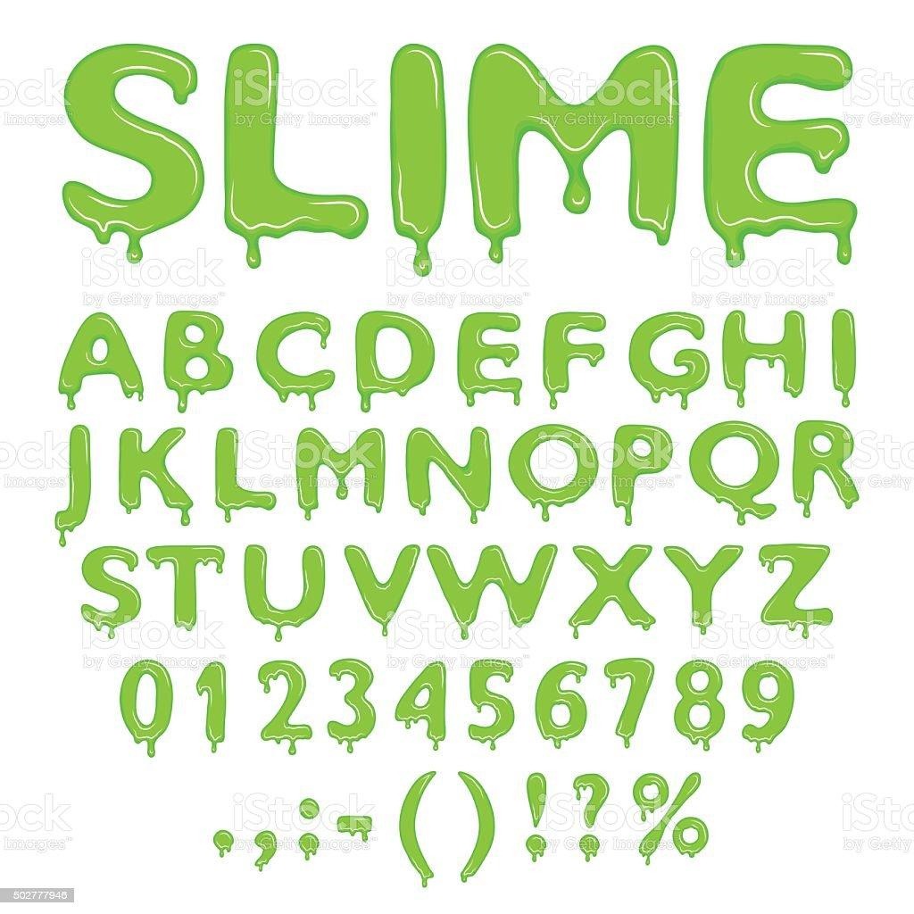 Slime alphabet numbers and symbols vector art illustration