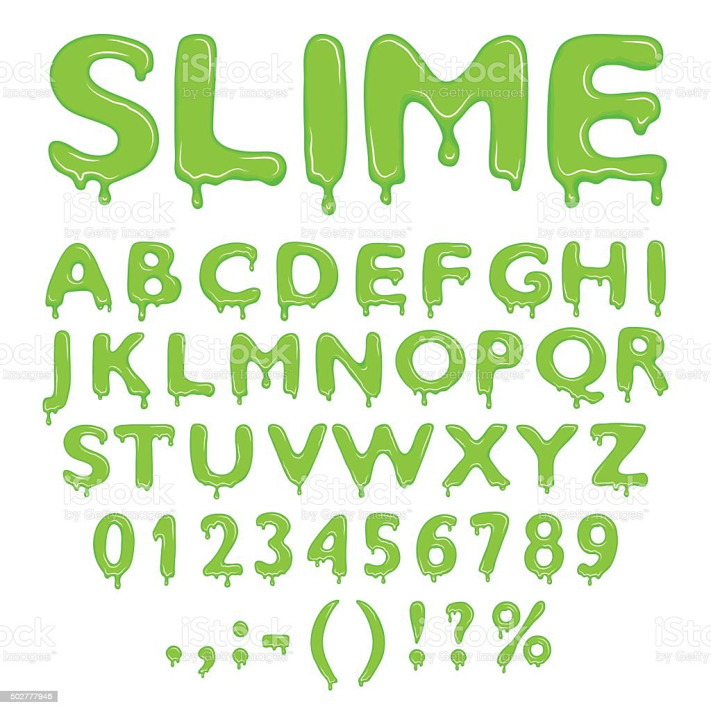 Slime alphabet numbers and symbols vector art illustration