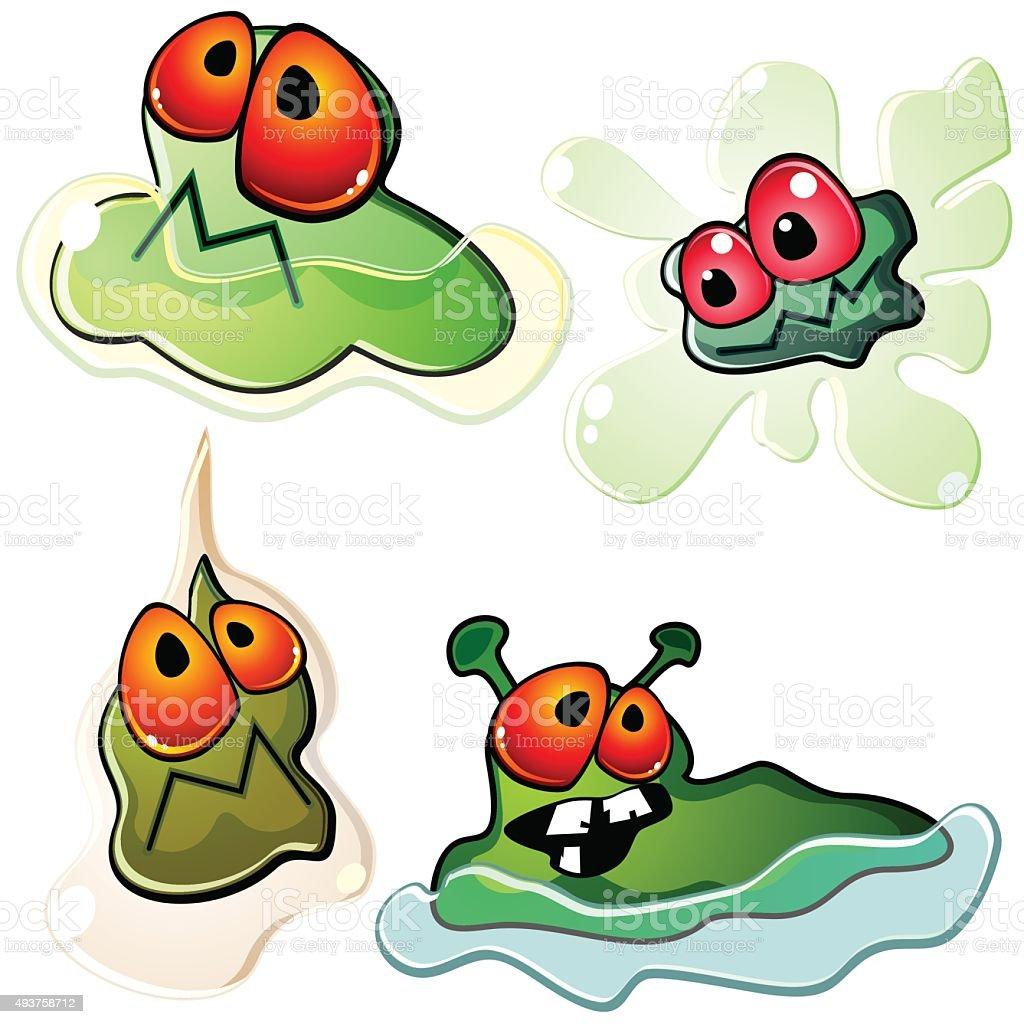 Slimy germs vector art illustration