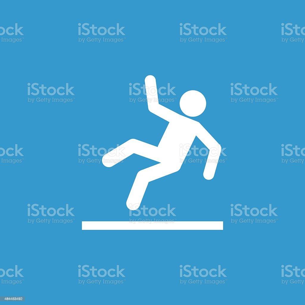 slippery floor outline icon, isolated, white on the blue backgro vector art illustration