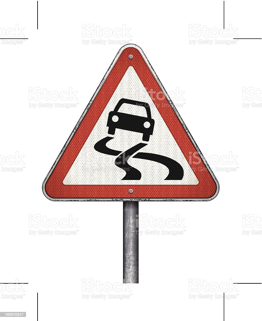 slippery road ahead road sign royalty-free stock vector art