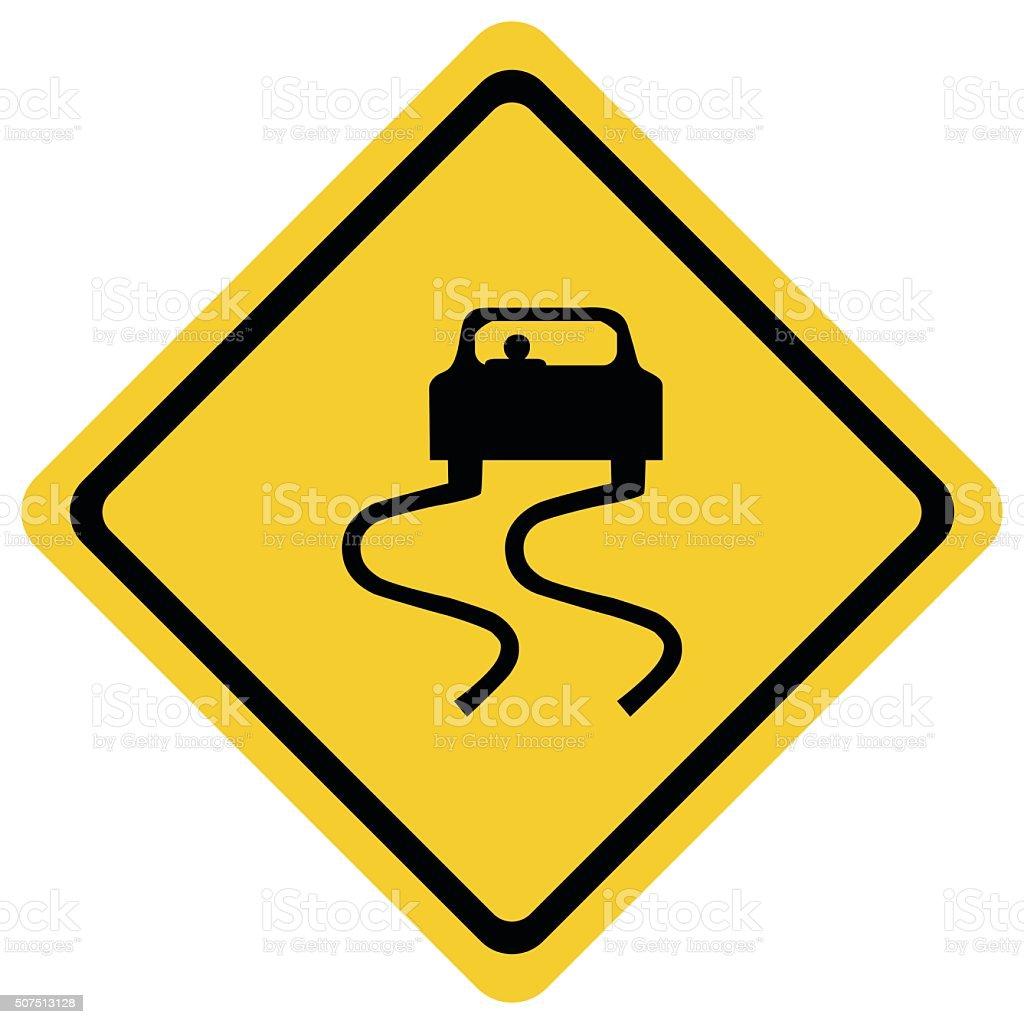Slippery road sign. vector art illustration