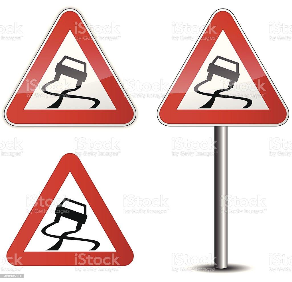 Slippery road vector art illustration