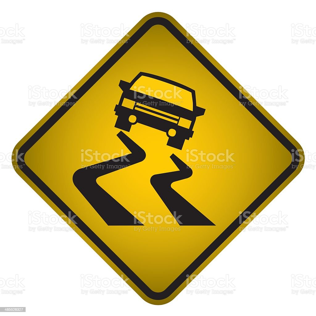 Slippery Road Warning Sign- Vector royalty-free stock vector art