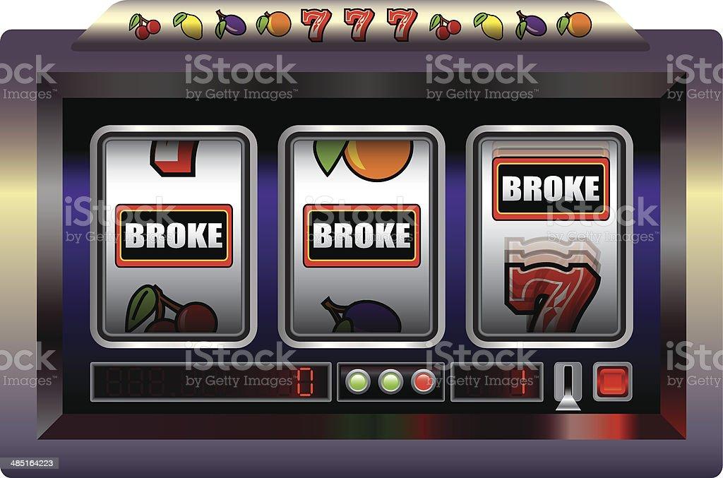 Slot Machine Broke vector art illustration