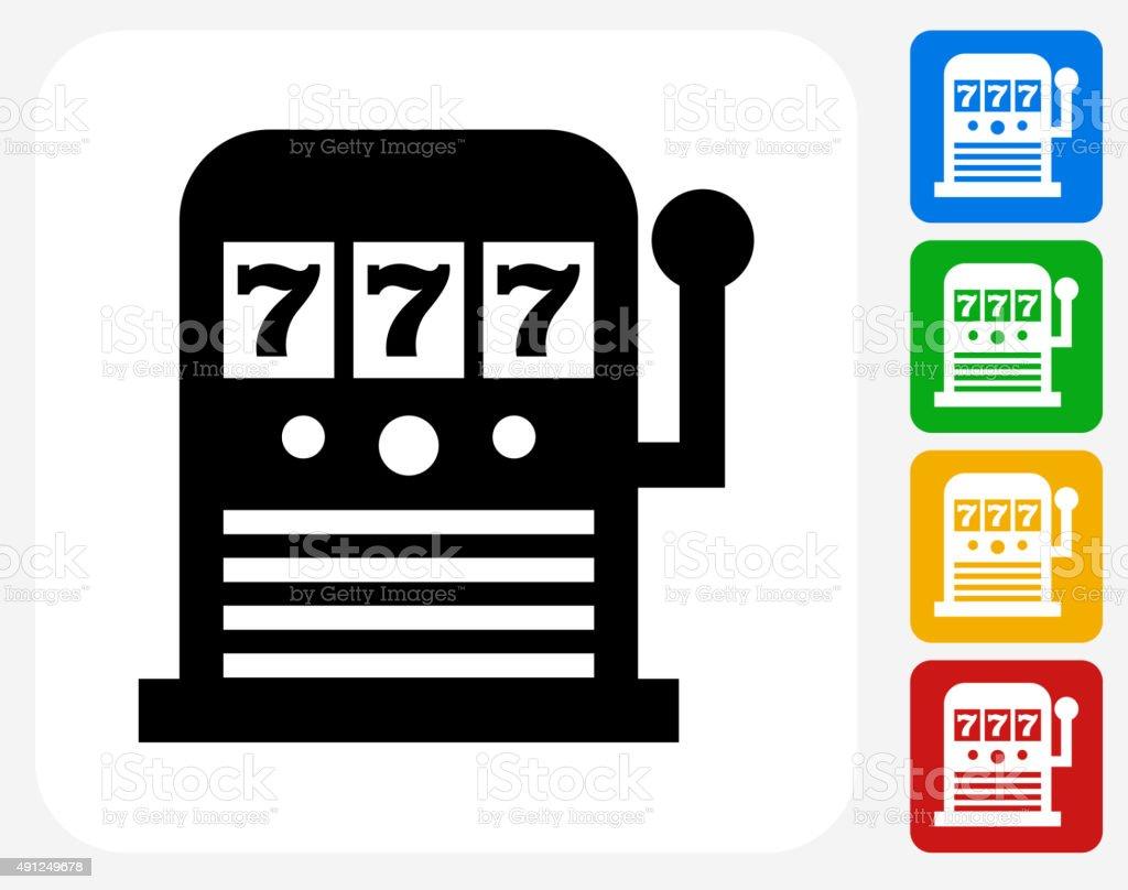 Slot Machine Icon Flat Graphic Design vector art illustration