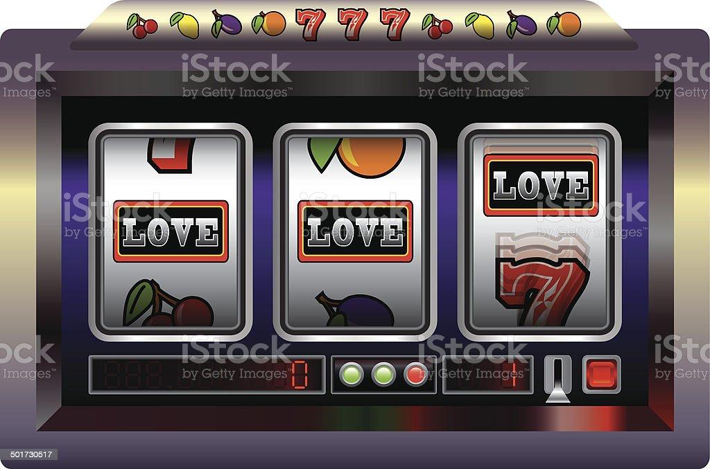Slot Machine Love vector art illustration