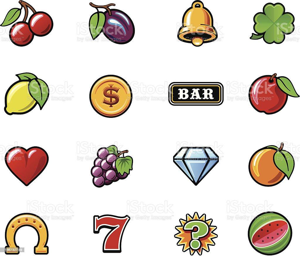 Slot machine symbols set vector art illustration