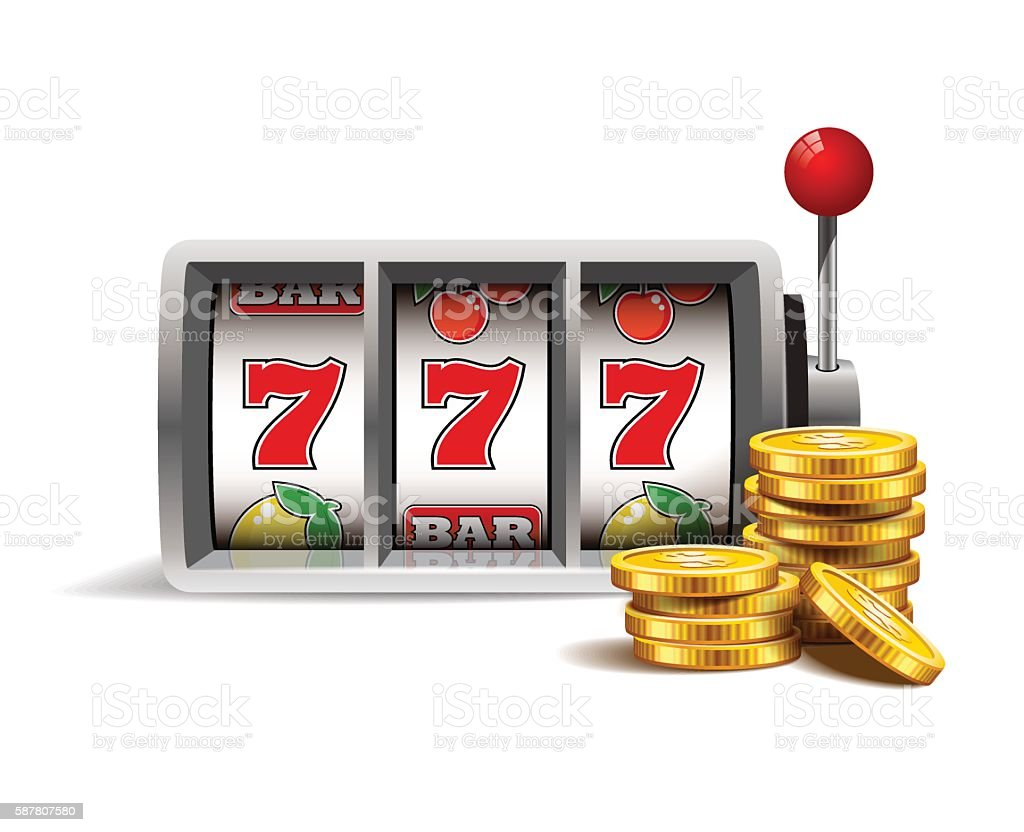 Slot machine with lucky seven. vector art illustration