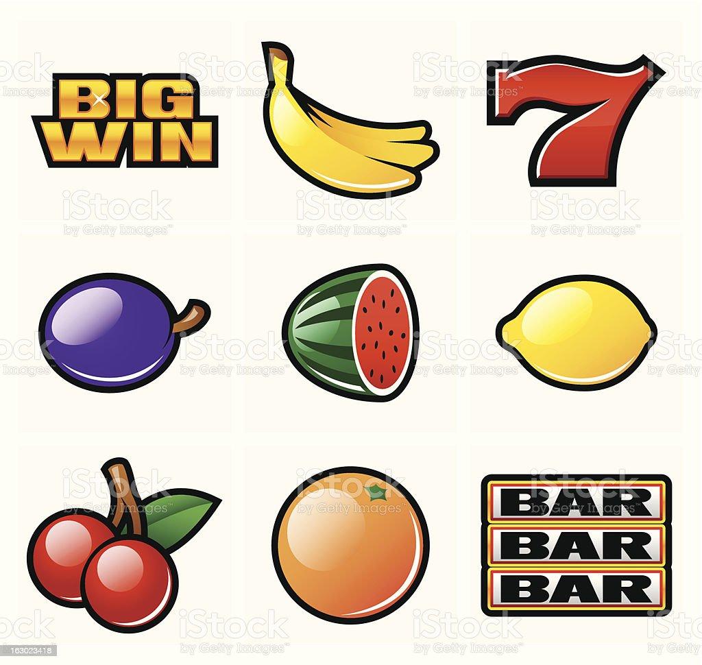 Slot symbols vector art illustration