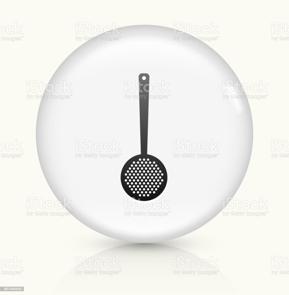 Slotted Spoon icon on white round vector button vector art illustration
