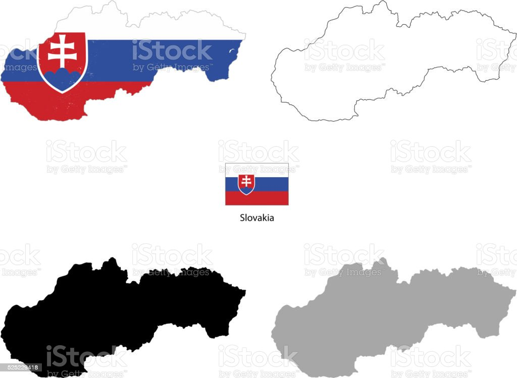 Slovakia country black silhouette and with flag on background vector art illustration