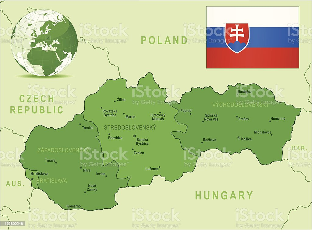 Slovakia - green highly detailed map royalty-free stock vector art