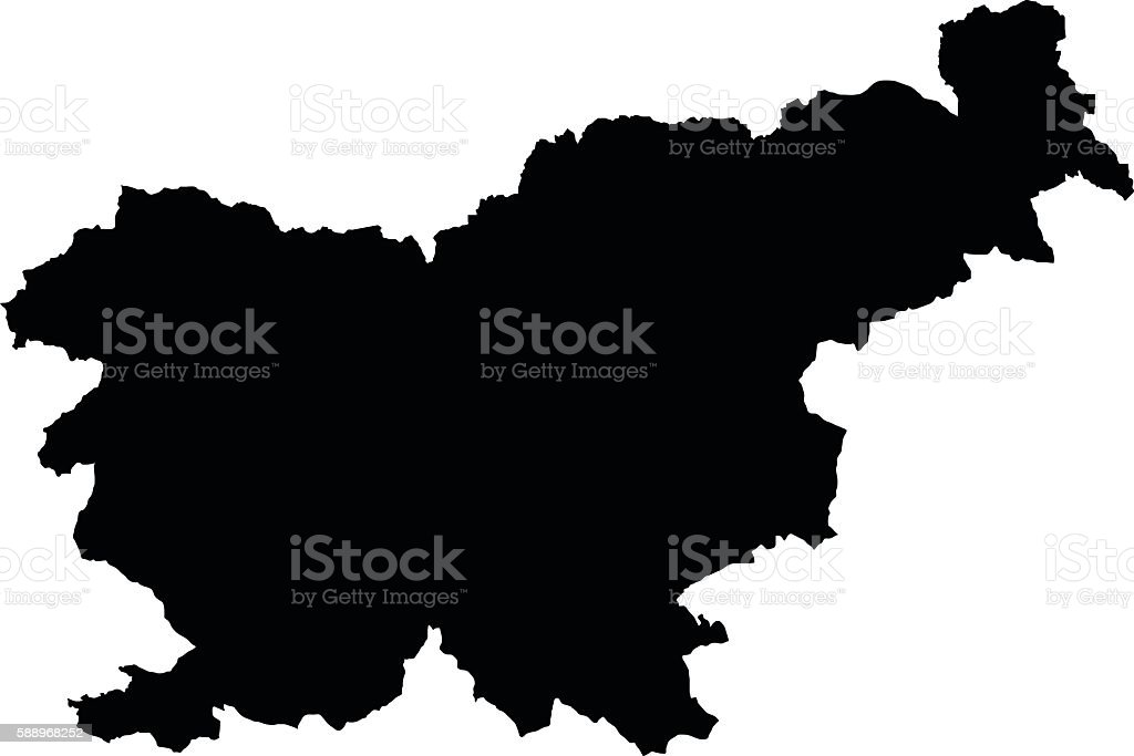 Slovenia black map on white background vector vector art illustration