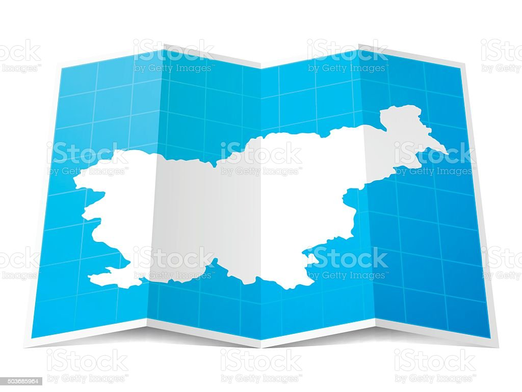 Slovenia Map folded, isolated on white Background vector art illustration