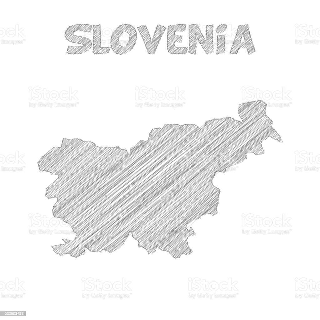 Slovenia map hand drawn on white background vector art illustration