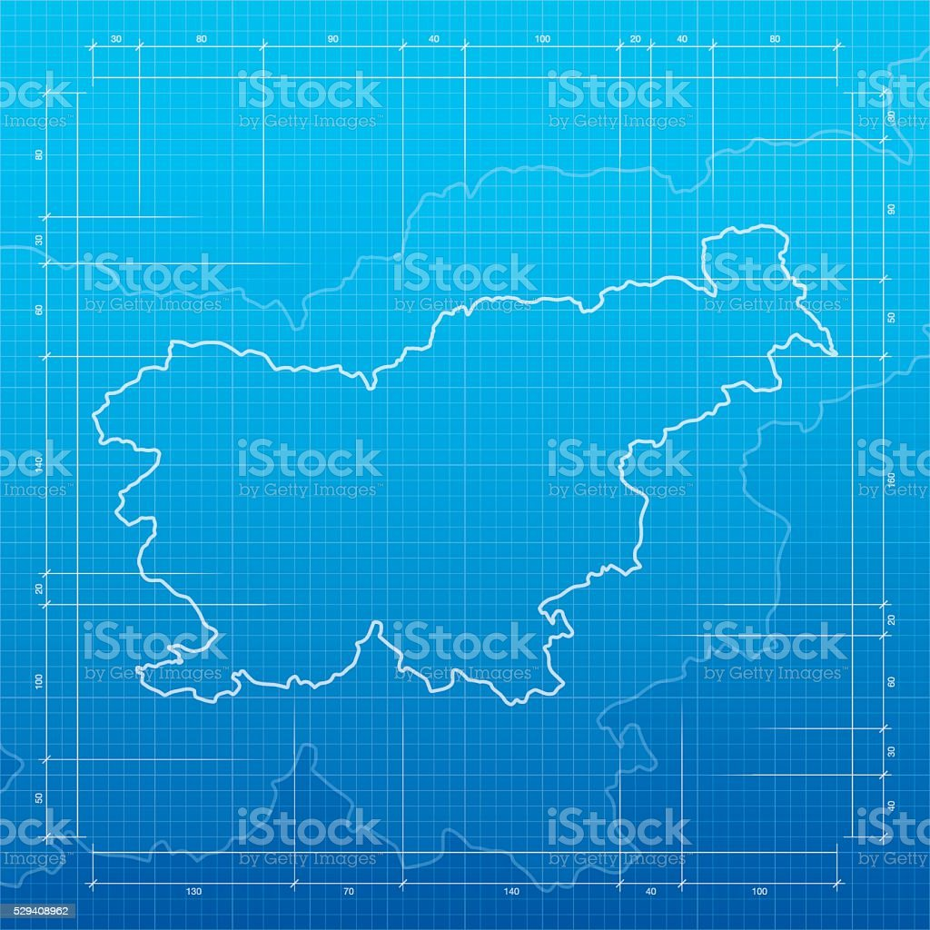 Slovenia map on blueprint background vector art illustration