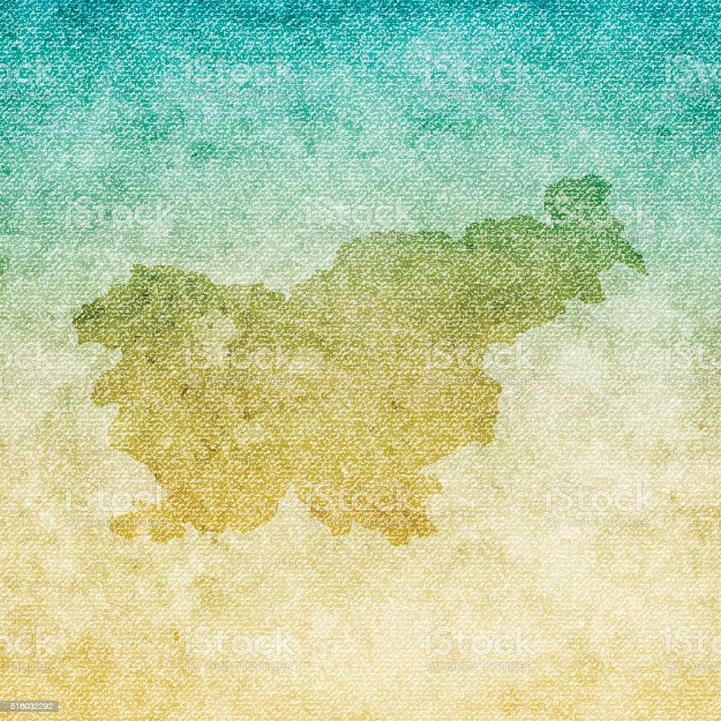 Slovenia Map on grunge Canvas Background vector art illustration