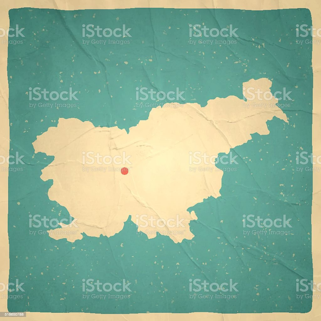 Slovenia Map on old paper - vintage texture vector art illustration