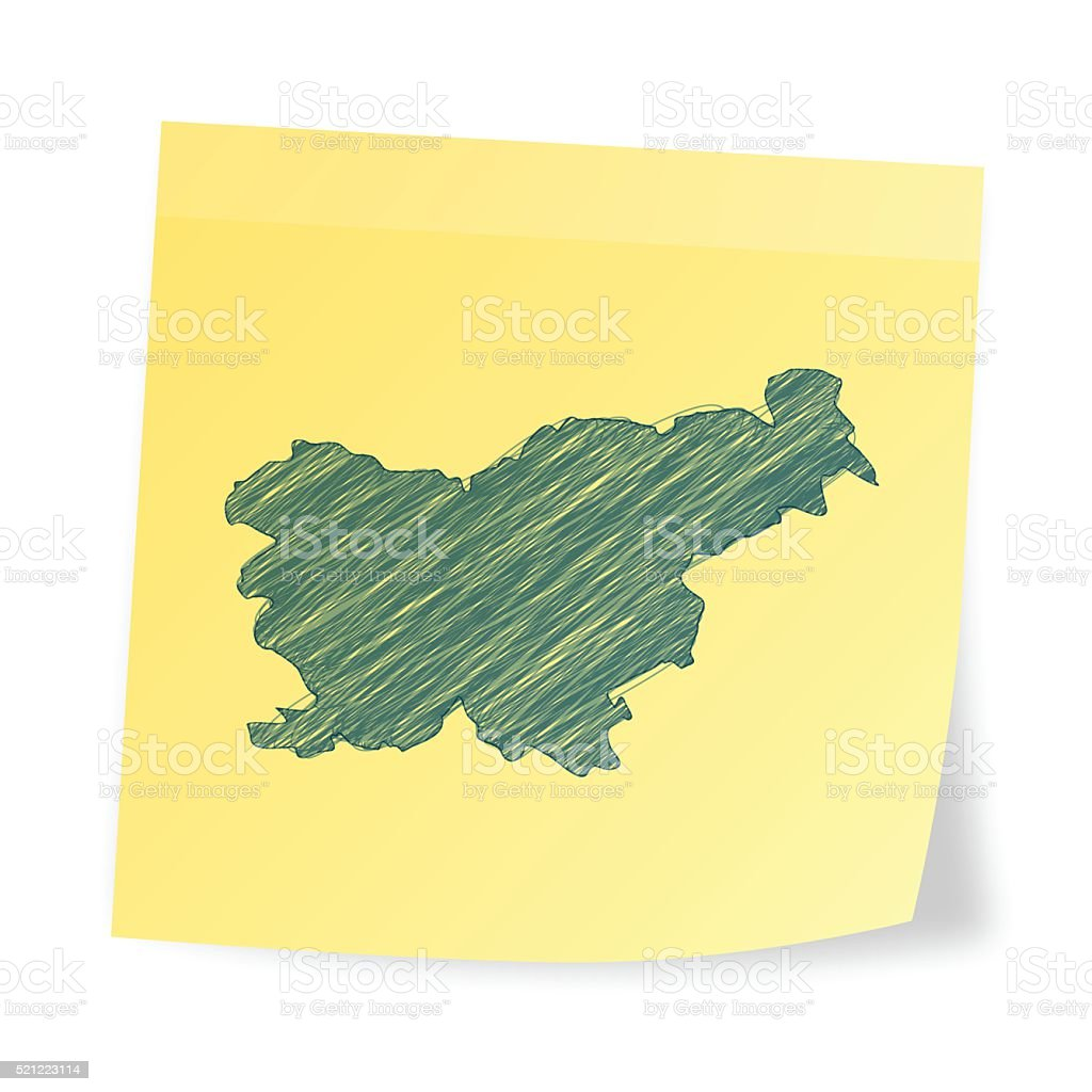 Slovenia map on sticky note with scribble effect vector art illustration