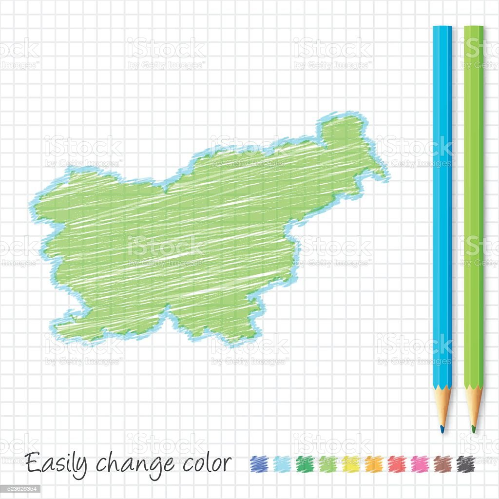 Slovenia map sketch with color pencils, on grid paper vector art illustration
