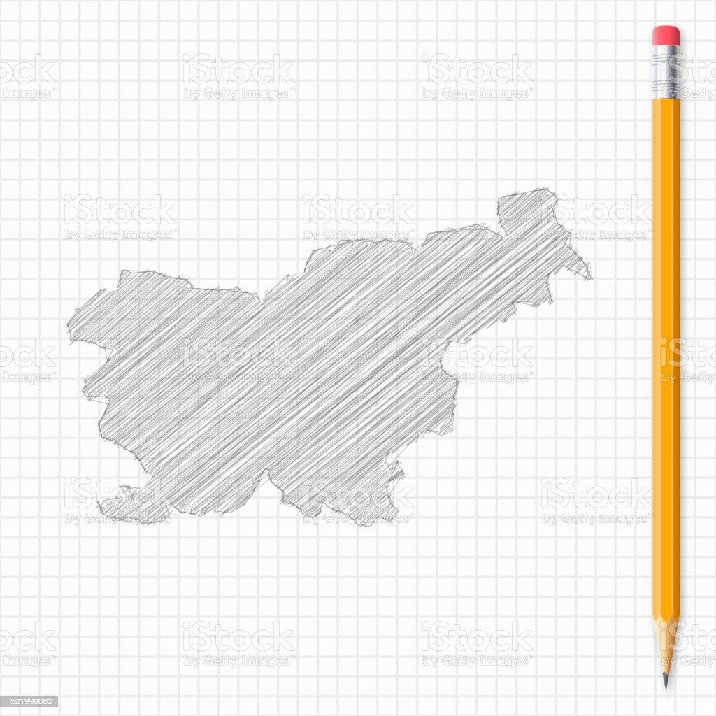 Slovenia map sketch with pencil on grid paper vector art illustration