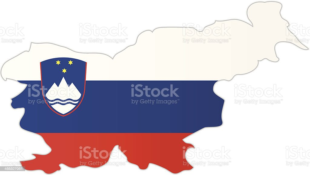 Slovenia map with flag royalty-free stock vector art