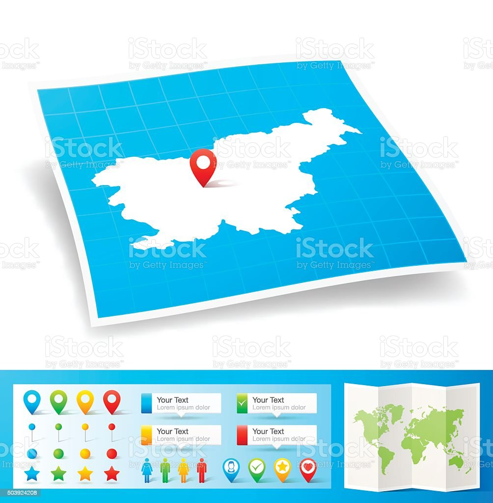 Slovenia Map with location pins isolated on white Background vector art illustration