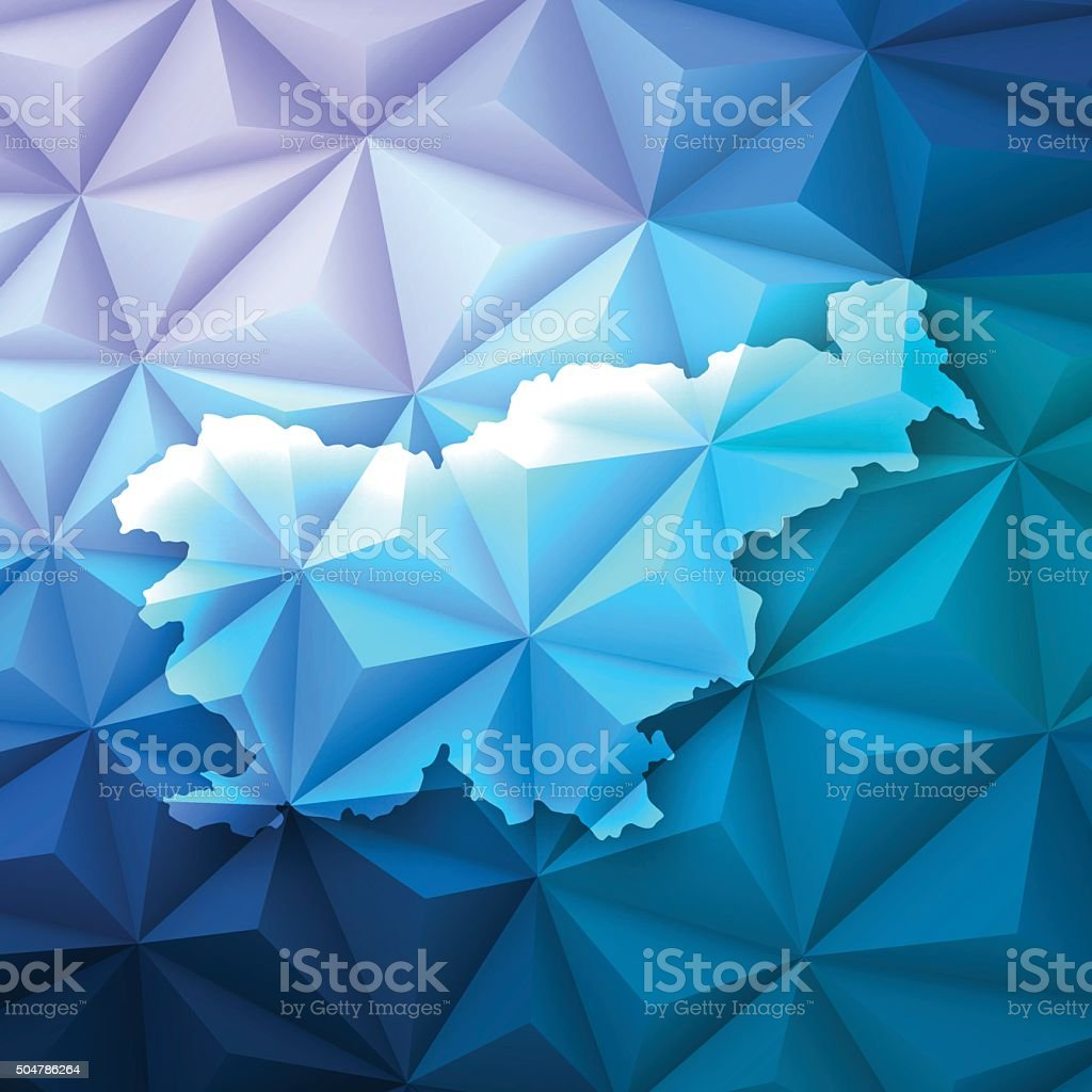 Slovenia on Abstract Polygonal Background - Low Poly, Geometric vector art illustration