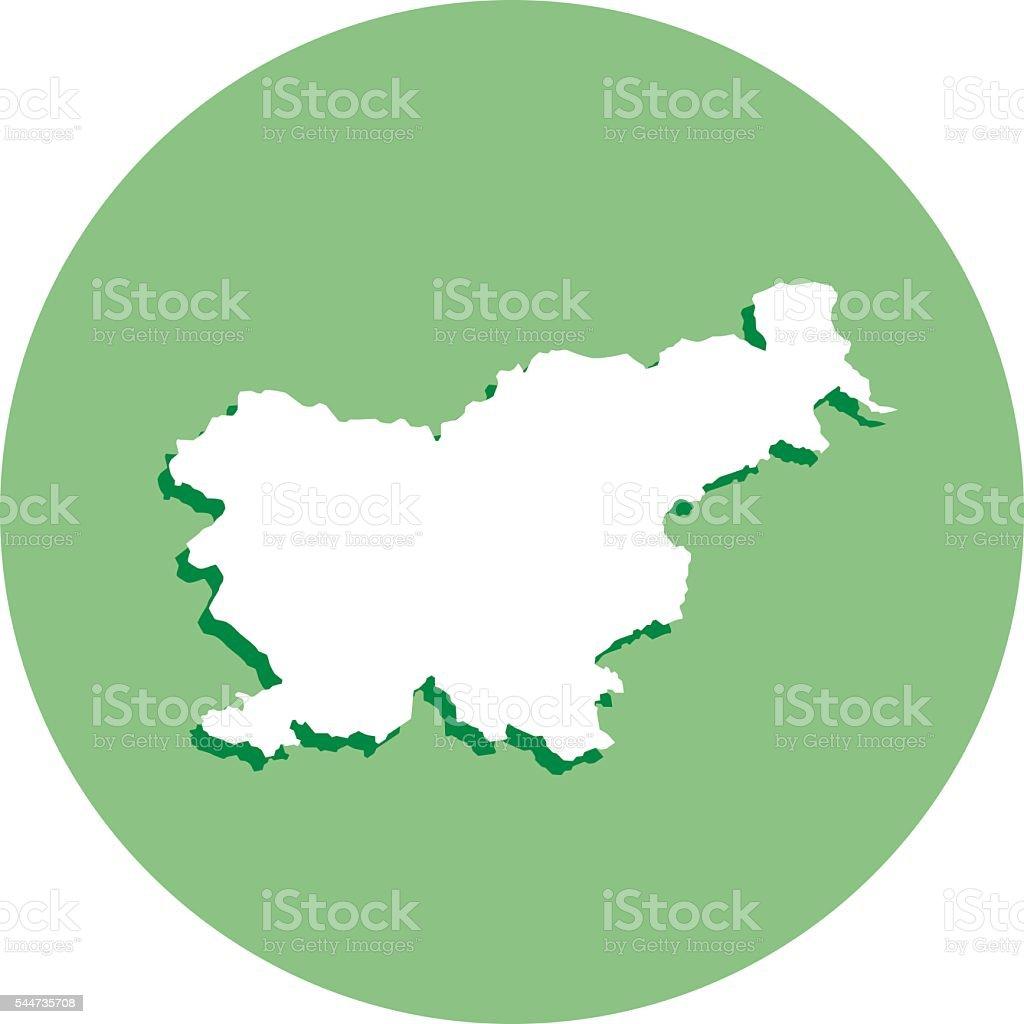 Slovenia Round Map Icon vector art illustration