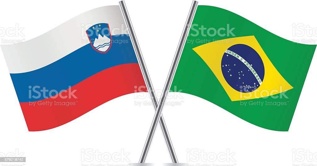 Slovenian and Brazilian flags. Vector. vector art illustration