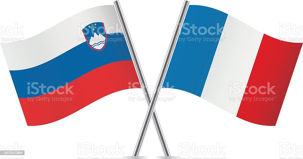 Slovenian and French flags. Vector. vector art illustration