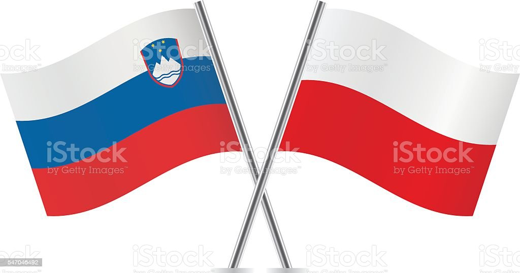 Slovenian and Polish flags. Vector. vector art illustration