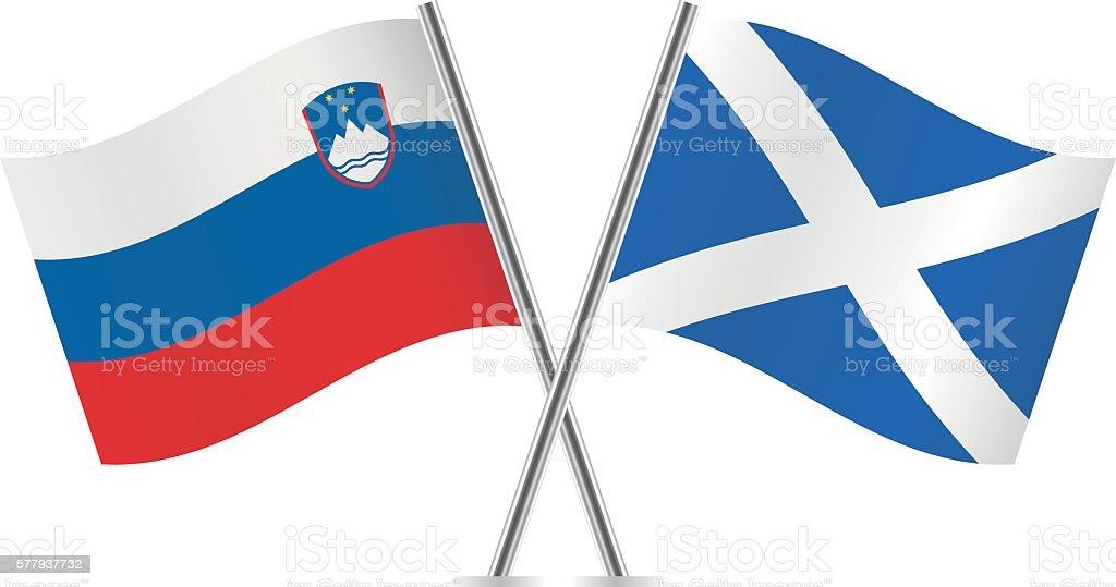 Slovenian and Scottish flags. Vector. vector art illustration