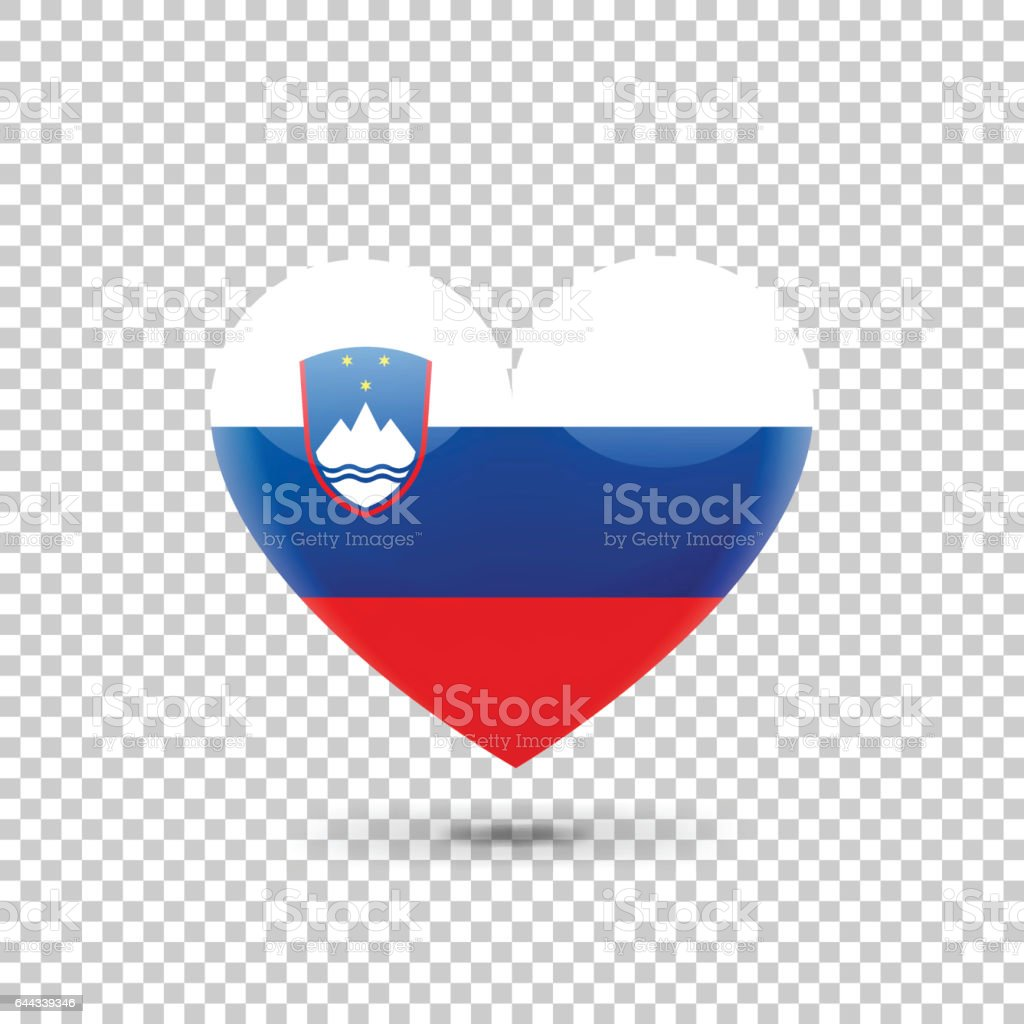 Slovenian Flag Heart Icon vector art illustration