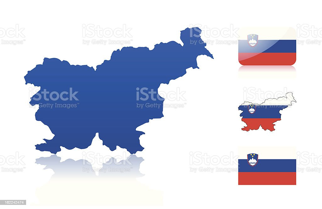 Slovenian map and flags vector art illustration