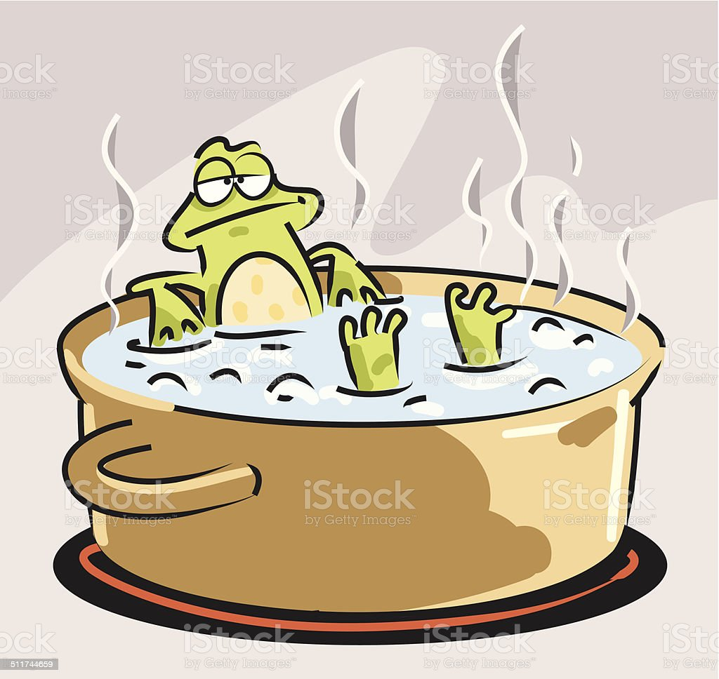 Slow Boiled Frog vector art illustration