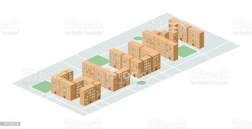 Slum district. Isometric city buildings. Yard among  houses. Vec vector art illustration