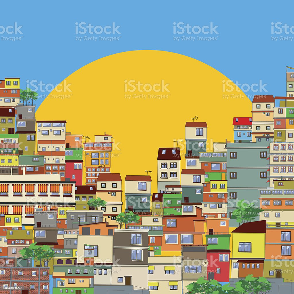 Favela vector art illustration