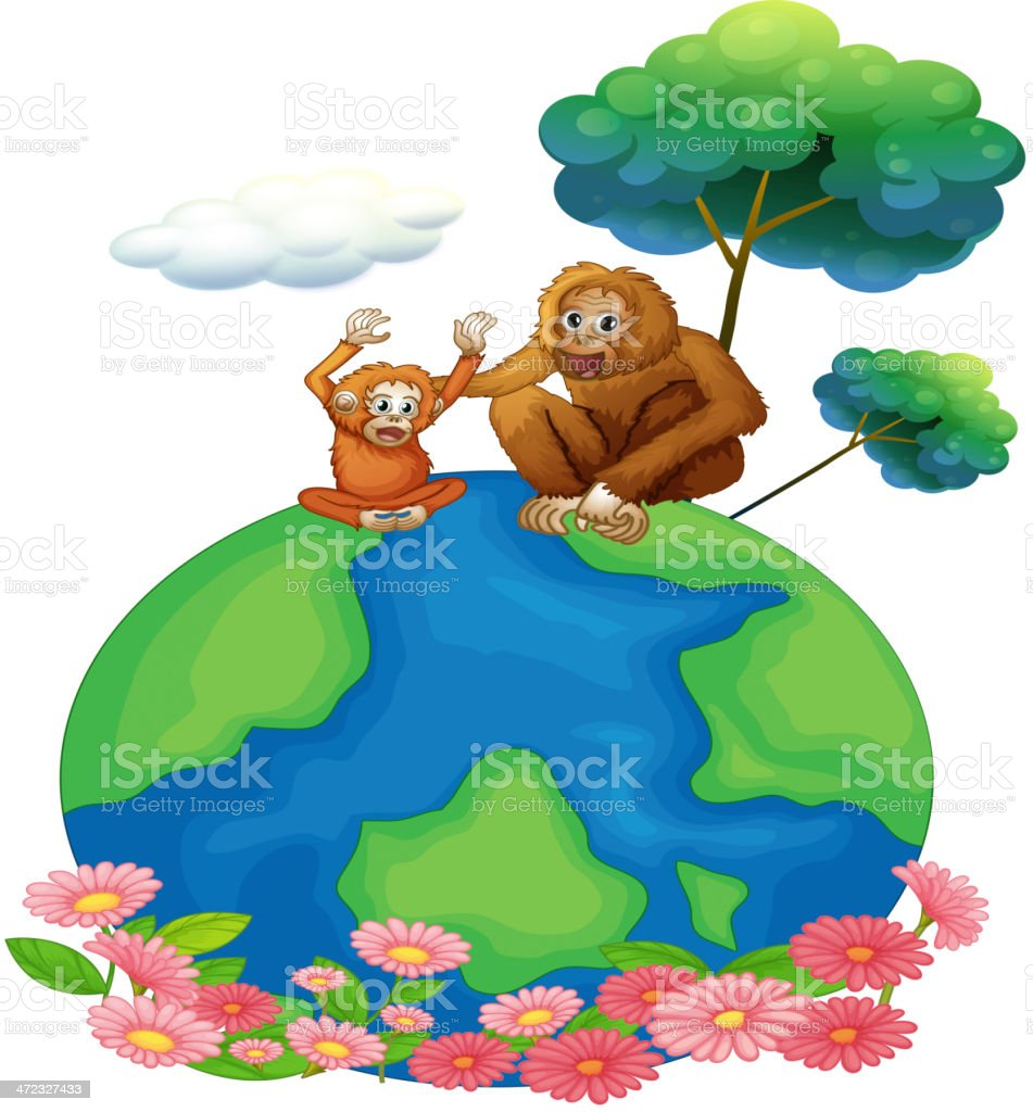 small and a big orangutan sitting above the planet earth royalty-free stock vector art